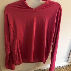 Nike long sleeved dri-fit pink shirt